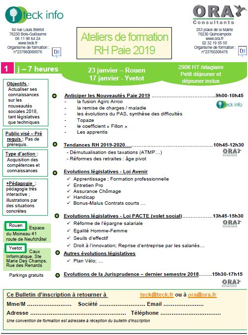 Ateliers formation RH/PAIE 2019